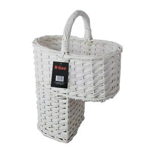 White Oval Wicker Stair Step Storage Basket With Carry Handle Tidy Organiser