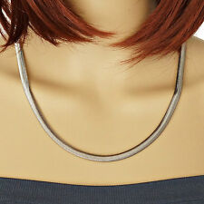 Damen Halskette Edelstahl Kette Schlangenkette 54 cm 6 mm silber