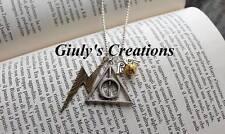 Collana Doni della Morte Harry Potter boccino d'oro Saetta simboli Hogwarts saga