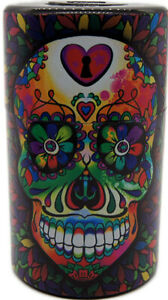Candy Skull Vacuum Sealed Herb Stash Jar Container Airtight Smell Proof Storage