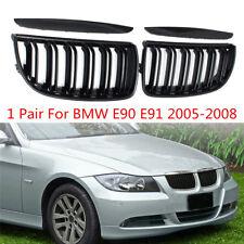 Pair Gloss Black Double Slat Sport Kidney Grille Grill For BMW E90 E91 2005-2008