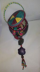 Hand Crafted African Jewellery Necklace Beaded Multi Beadwork and Case