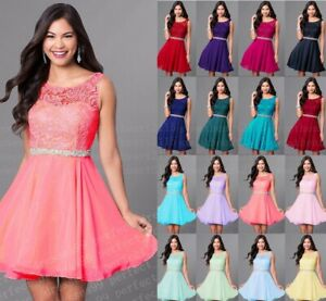 New Short Chiffon Bridesmaid Formal Gown Ball Party Evening Prom Dress Size 6-24