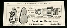1903 OLD MAGAZINE PRINT AD, FRANK BACON ENGINE CONTACT BOX, SPARK PLUGS, OMAHA!