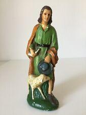 Alte Antike Krippen Figur aus Gips Schäfer mit Schaf Handbemalt Höhe 21,5 cm