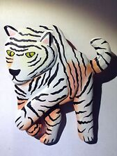 Vintage Tiger Pin Zoo Brooch Bengal Jewelry Wild Animal Tone New Cat Vtg Striped