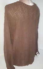 NWT WOOLRICH Mens Pullover Crewneck Sweater Sz Large Brown Cotton Blend