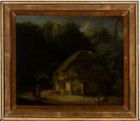 English School 19th Century Oil - Figures by a Cottage in a Landscape