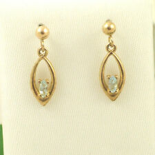 EGB976 Ladies Solid 9ct 375 Yellow Gold Marquise Cut Blue Topaz Drop Earrings