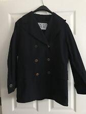 Escada Sport Gold Button Pea Coat/ Jacket Navy Sz S NEW