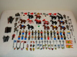 Lego Castle Knights Minifigs Horses Weapons Cannons Shields Flags Lot 190 pcs