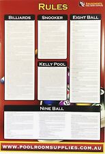 LAMINATED Pool Snooker Eight Ball Fifteen Ball American Pool Table RULE CHART*