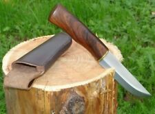 Jagdmesser Messer Stahl Rostfrei Edle Rosenholz Griff Handarbeit + Lederscheide