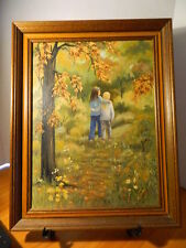 oil on canvas painting framed 2 girls in woods autumn tree flowers grass friends