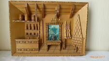 Vintage Diorama Wood Folk Art Collectible Hand Made Carved 3D Cabin Scene Wooden
