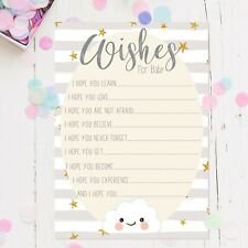 Baby Shower Games - Wishes For Baby Cards Grey Stripe Cloud New Mum To Be unisex
