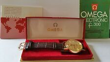 Omega Consellation f300 Electronic Chronometer 18K Solid Gold Watch Box  Papers