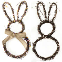 Handmade Rattan Bunny Rabbit Garland Wreath Pendant Christmas Easter