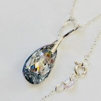 Swarovski Elements 925 Silver Crystal Necklace Pendant Tear Pear Jewellery Gift