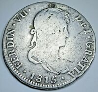 1815 Holed Spanish Peru Silver 4 Reales Antique 1800's Colonial Half Dollar Coin