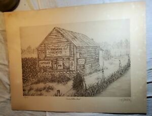 PENCIL DRAWING LITHOGRAPH PICTURE COUNTRY BULLETIN BOARD BY TAYLOR PENLEY SIGNED