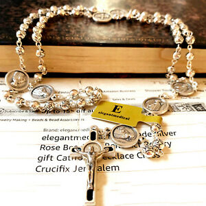 SILVER Rose beads St.Benedict italy Rosary & Crucifix Cross catholic necklace