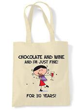 CHOCOLATE & WINE 30th BIRTHDAY SHOULDER BAG - Gift Present Shopping