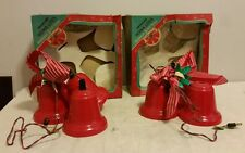 Twinkling Noma Lites 3 Bell Cluster Vintage Christmas Lights with Boxes lot of 2