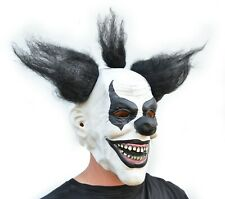 Halloween Clown Mask Costume Party Mask with Hair Killer Black & White Clown
