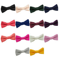 Premium Jacquard Plain Solid Check Page Boy Adjustable Pre-Tied Kids Bow Tie
