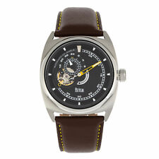 Reign Astro Semi-Skeleton Leather-Band Watch - Silver/Brown