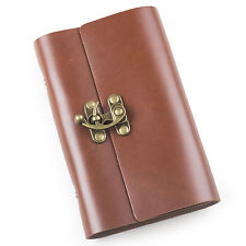 Ancicraft Leather Journal Notebook Refillable with Cool Lock Red Brown A6 Lined