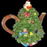 "Vintage Christmas Tree Tea Pot New In Box 8""T"