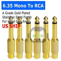 """6x 6.35mm 1/4"""" Male Mono Plug To RCA Female Jack Audio Adapter Connector"""