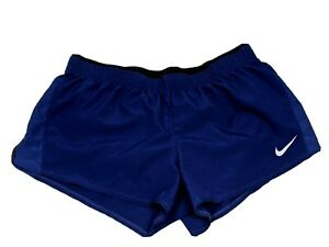 Nike Womens Size XL 10K Dri-Fit Running Shorts with Built in Briefs Black & Blue