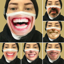 NEW 3D Printed Funny Face Mask Breathable Washable Mouth Protection Reusable US