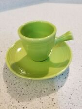 RETIRED FIESTA DEMITASSE CUP & SAUCER in CHARTREUSE - UNUSED MINT SET!