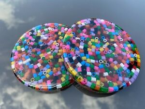 Set of 2 Coasters Made with Colourful Beads Set in Clear Resin.