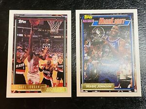 1992-93 Michael Jordan #141 and Magic Johnson Topps Gold Both Mint High Grade