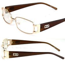 Unisex DG Eyewear Clear Lens Rectangular Frame Fashion Designer Glasses Gold