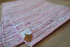 rose pastel Chindi Tapis fait à la main Recyclé Coton 140x210cm 5x7 ourlé