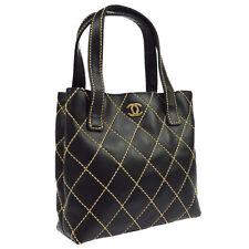CHANEL Wild Stitch CC Logos Hand Bag Purse 7677599 Black Leather Auth S09169