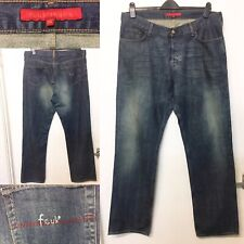 Mens FCUK French Connection Blue Jeans Straight Leg Mid Wash Denim W38 L35 /R48