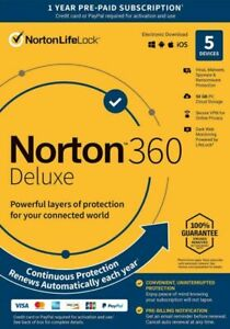 Norton 360 Deluxe - Antivirus software for 5 Devices w/ Auto Renewal NEW SEALED!