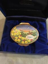 "2001 Halcyon Days Enamel Oval Box ""A Year To Remember� new in box"