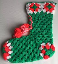 Vintage Hand-Made Crochet Christmas Stocking Lace Up Bootie Tassel Yarn Green