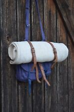 Rare Purple Army Messenger with Leather Straps, Unisex Heavy Duty Canvas Bag