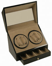 NEW (4) + 4 BLACK WOOD AUTOMATIC DUAL DOUBLE QUAD WATCH WINDER DISPLAY BOX/CASE