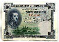 Spain-Billete. Felipe II. 100 Pesetas 1925. Madrid. Serie F. EBC-/XF-