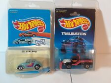 HOT WHEELS 2 VINTAGE BLISTERS : VW BUG BW UNPUNCHED CARD & POWER PLOWER BLACK